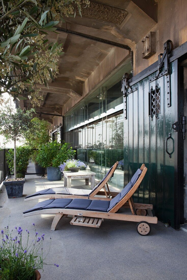 Loungers with cushions, herbs and potted trees on terrace outside industrial loft apartment