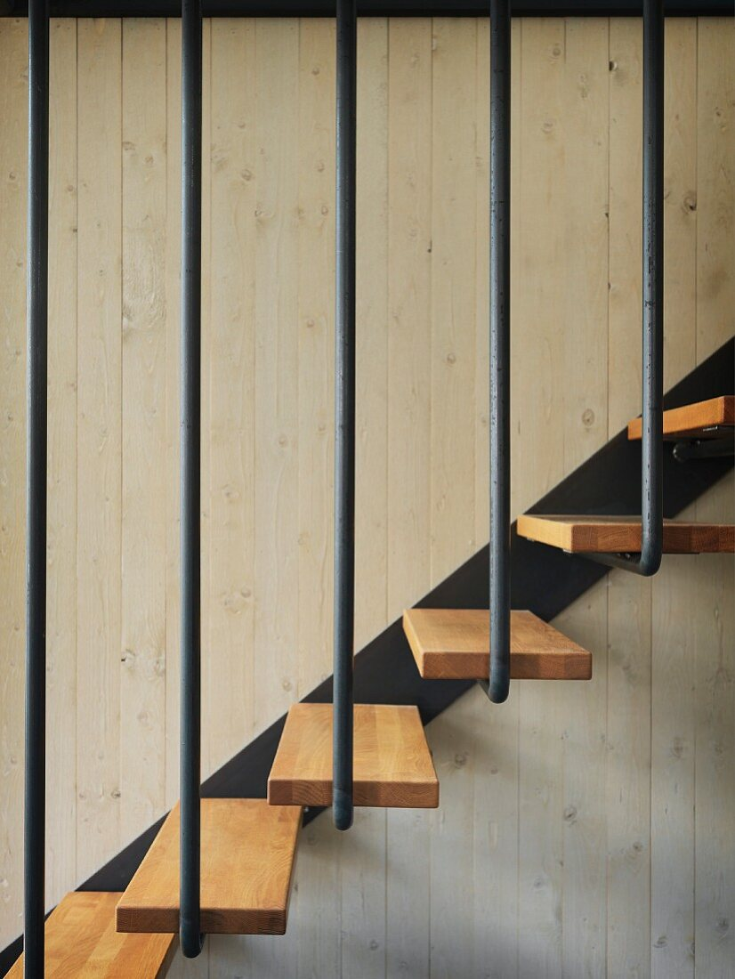 Detail Of Staircase With Wooden Treads Buy Image 11350622 Living4media
