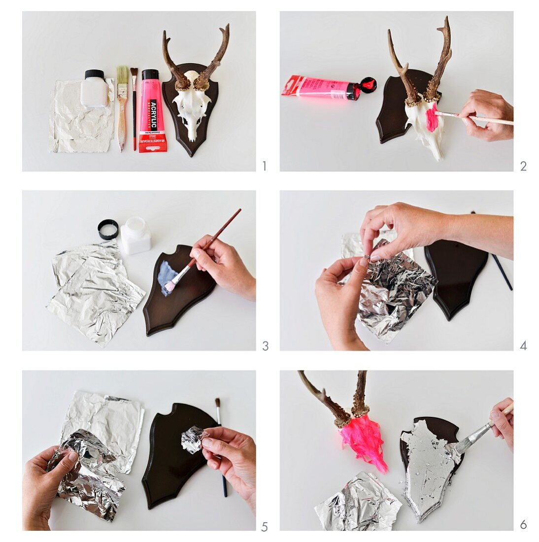 Instructions for restyling a traditional hunting trophy using neon acrylic paint and silver leaf