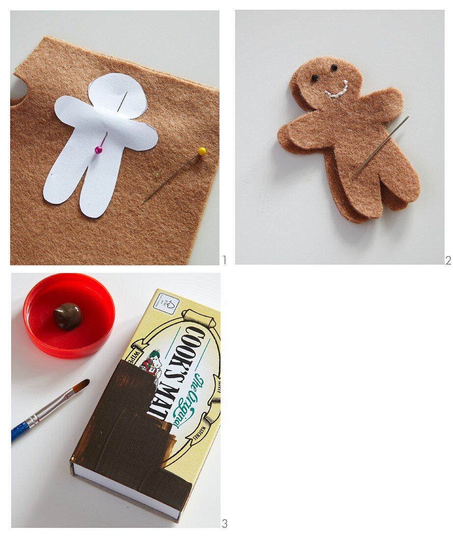 Hand-crafting a felt gingerbread man and making a house from a matchbox