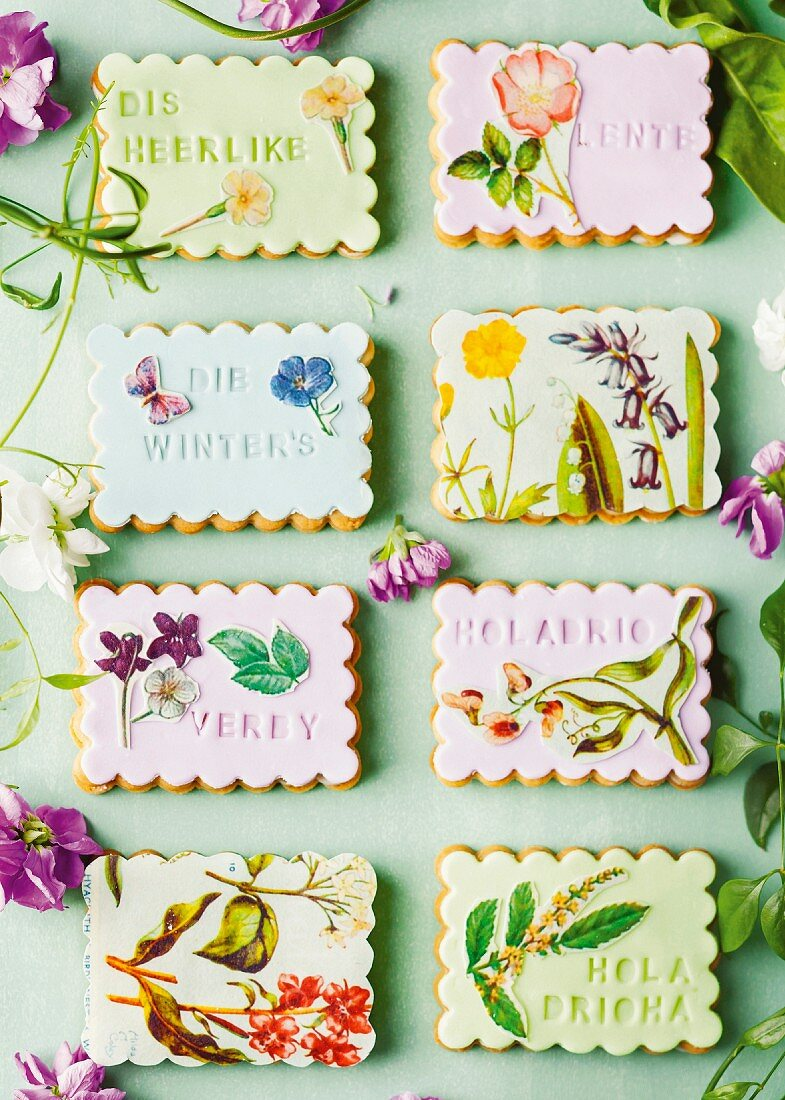 Shortbread biscuits decorated with flower and butterfly motifs