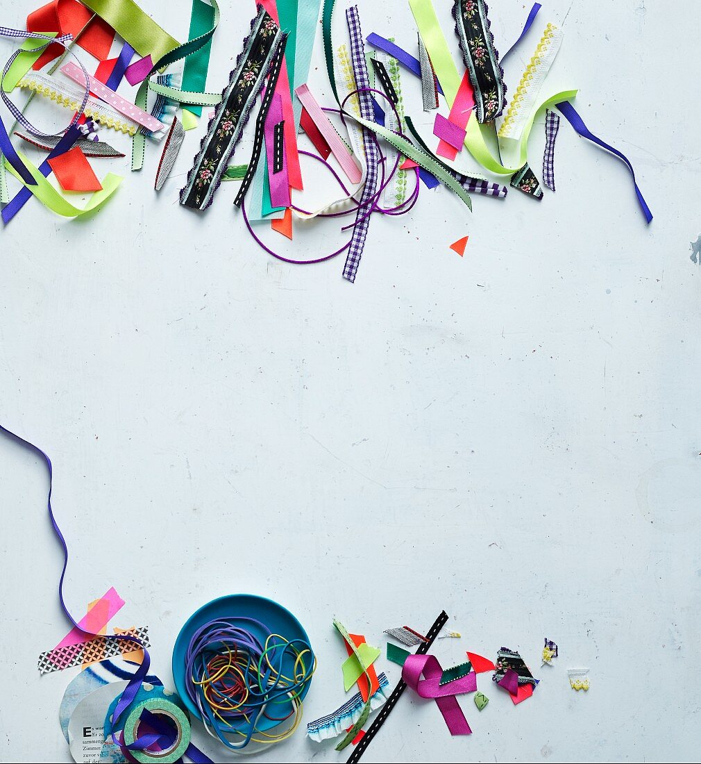 Ribbons, gift ribbons, washi tape and rubber bands for decoration