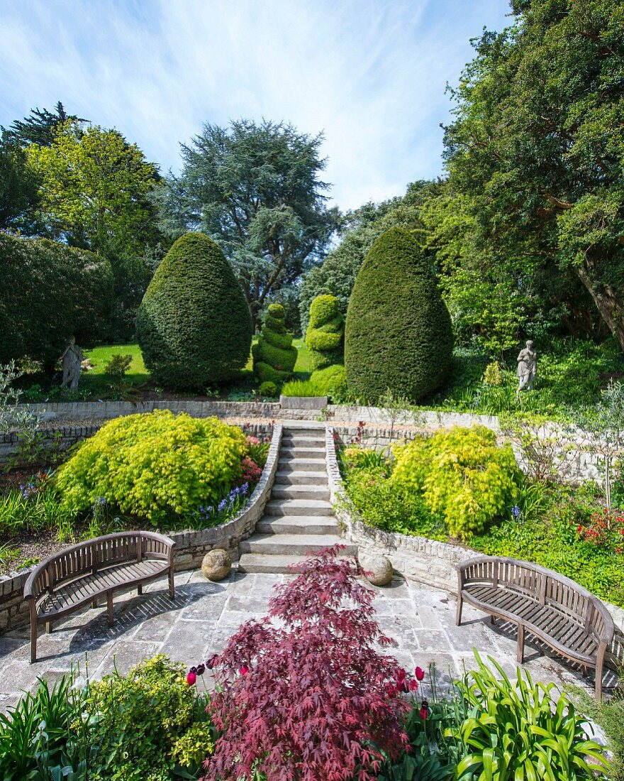 Benches, formal garden steps and topiary in elegant, summery park