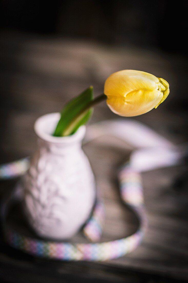 Yellow tulip in small ceramic vase