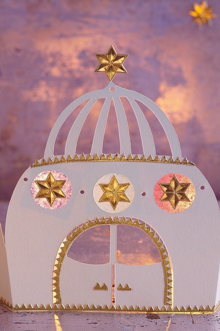 A homemade palace from Arabian Nights as Christmas decoration