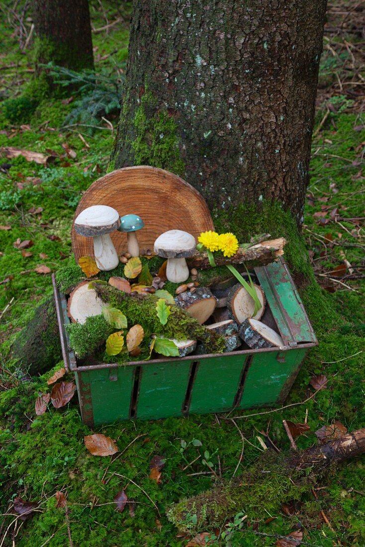 Wooden toadstools, slice of tree trunk and moss in metal basket in woods