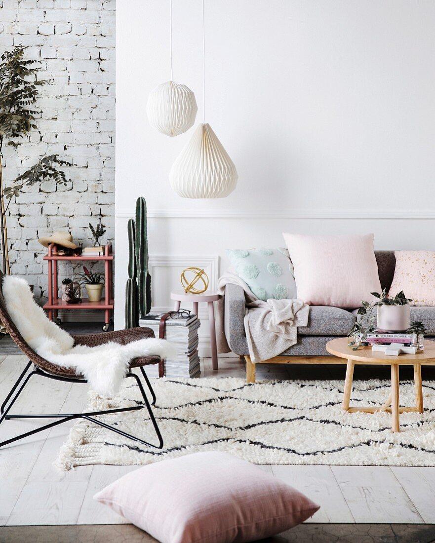 Modern living room in Scandinavian style