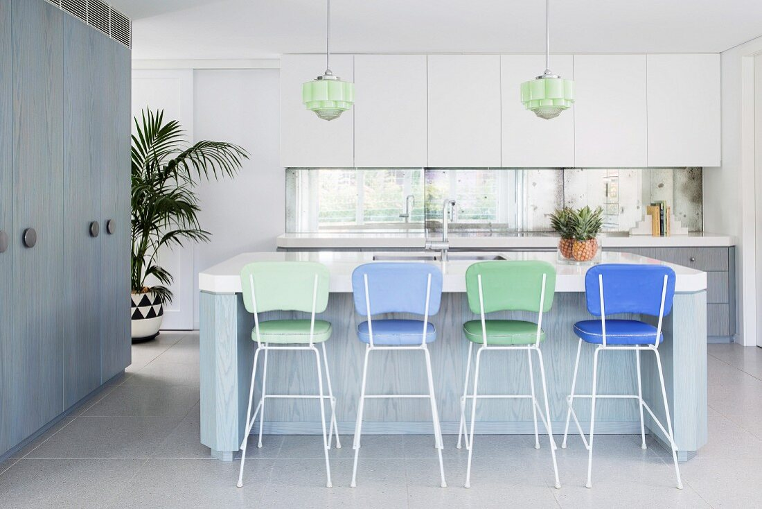 Simple Kitchen In White Gray Blue With Buy Image 12104704 Living4media