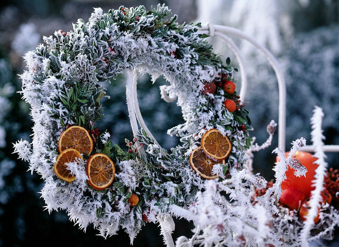 Twigs in hoarfrost wreath
