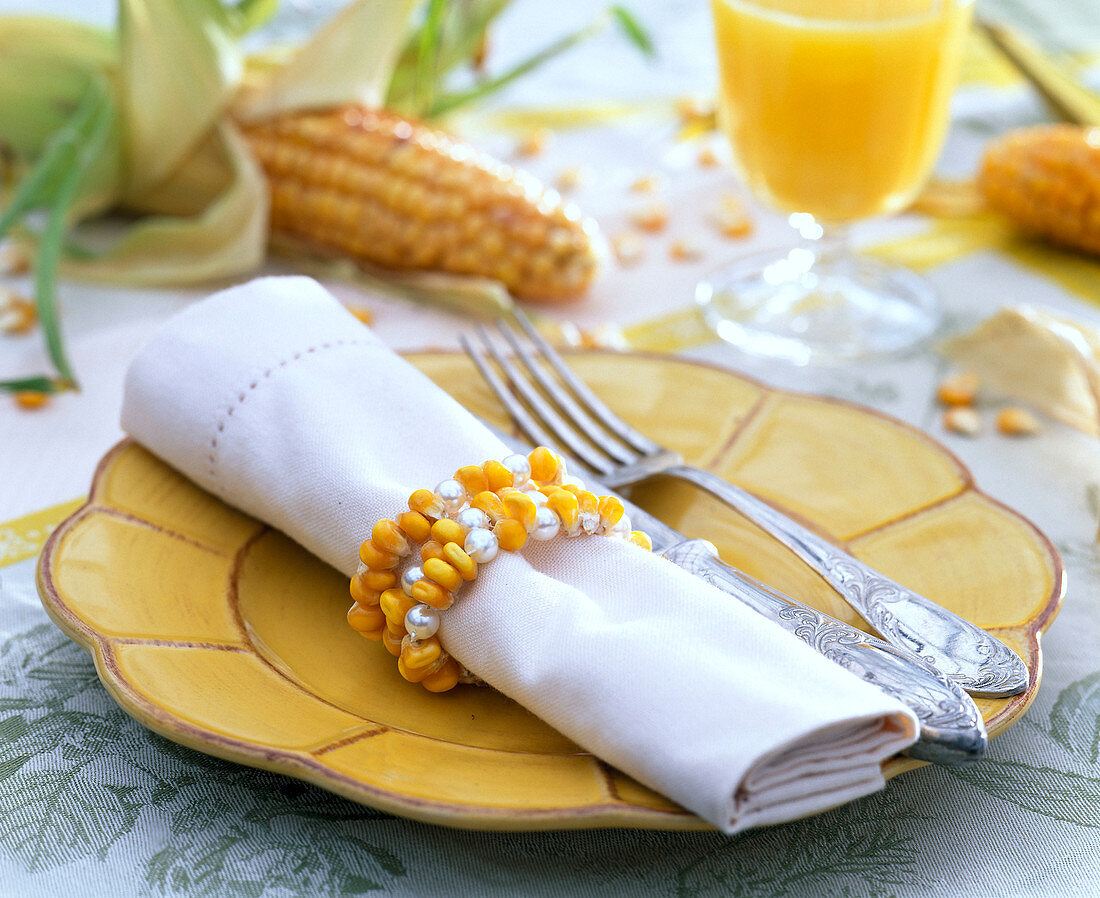 Zea (corn), beads with pearls threaded as napkin rings