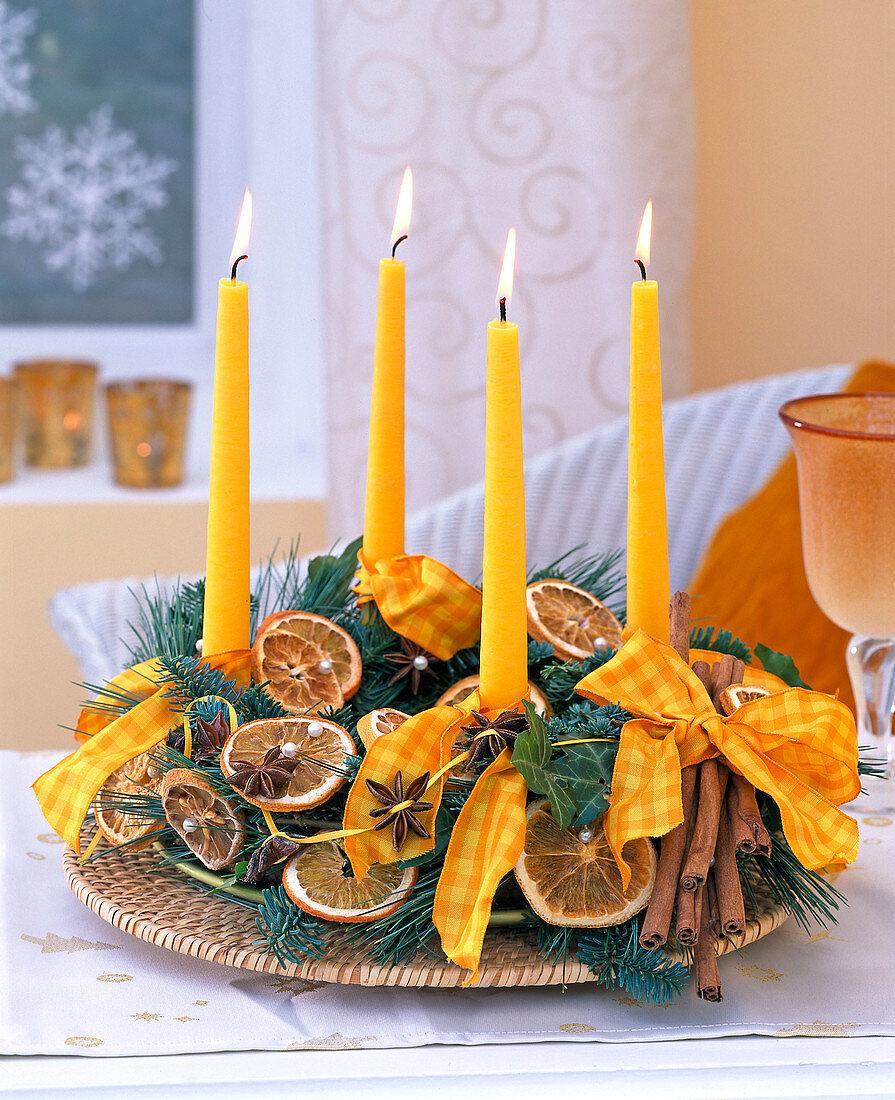 Christmas wreath with orange slices and cinnamon