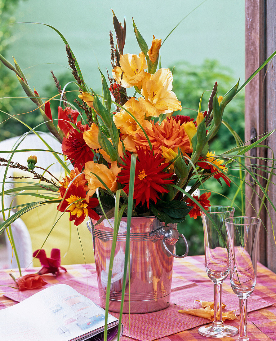 Bouquet of Gladiolus, Dahlia, Panicum