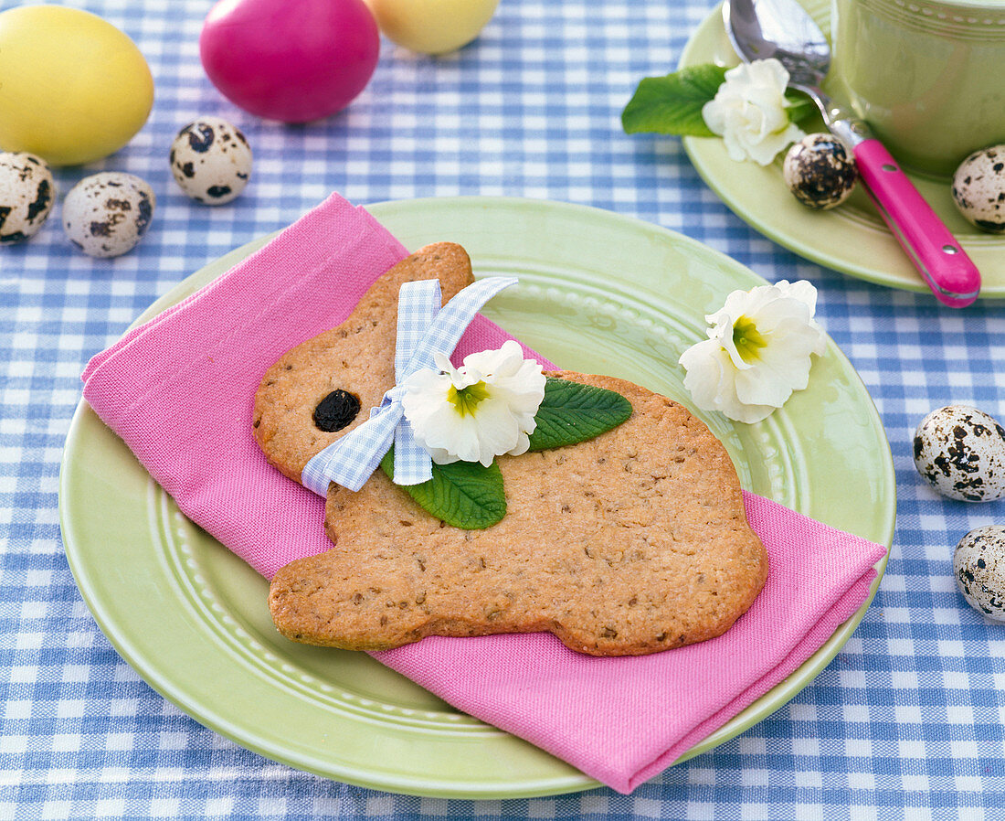 Green Easter breakfast with hare and eggs