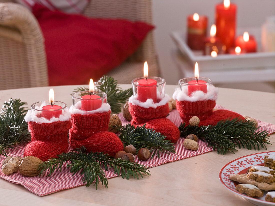 Unusual Advent wreath with baby socks