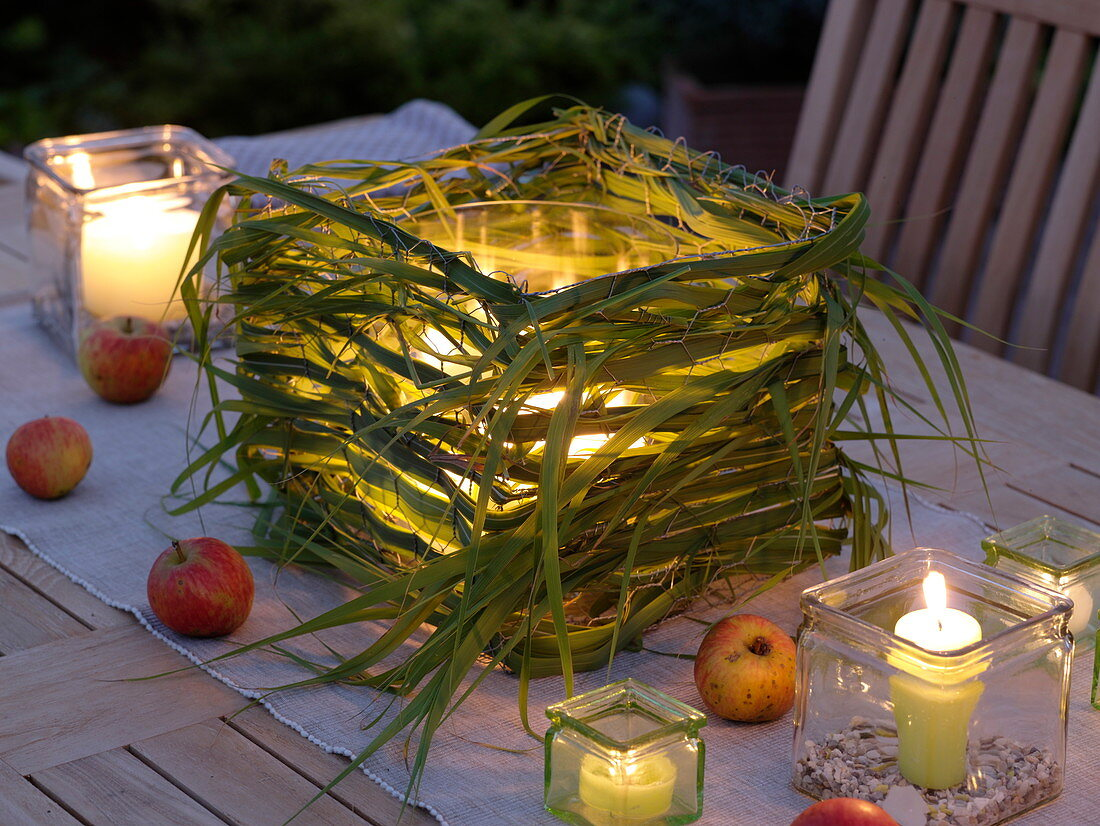 Lantern with miscanthus braided in square hare wire
