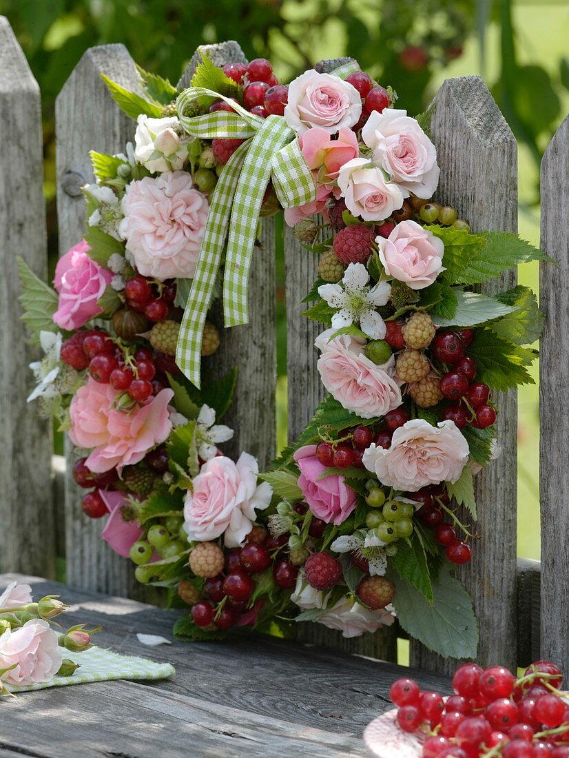 Wreath of Rose, currants, gooseberries
