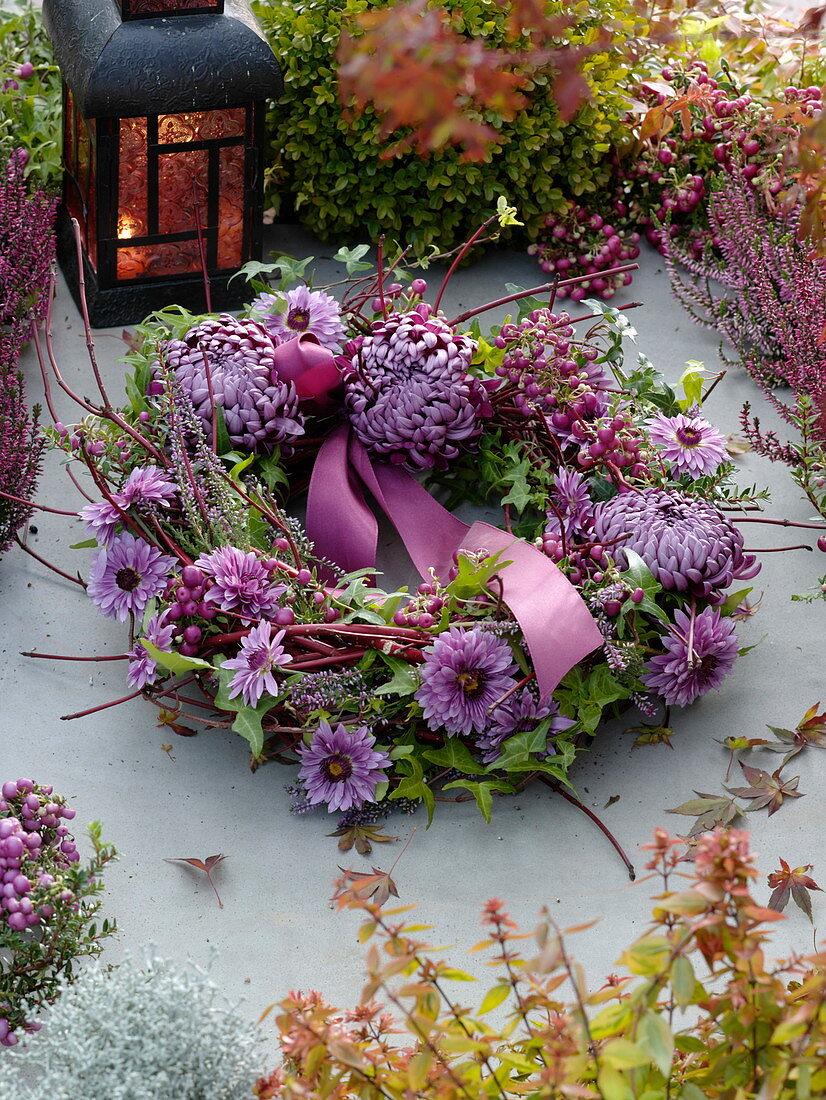 All Saints' Wreath with Spiral Cornus with Chrysanthemum