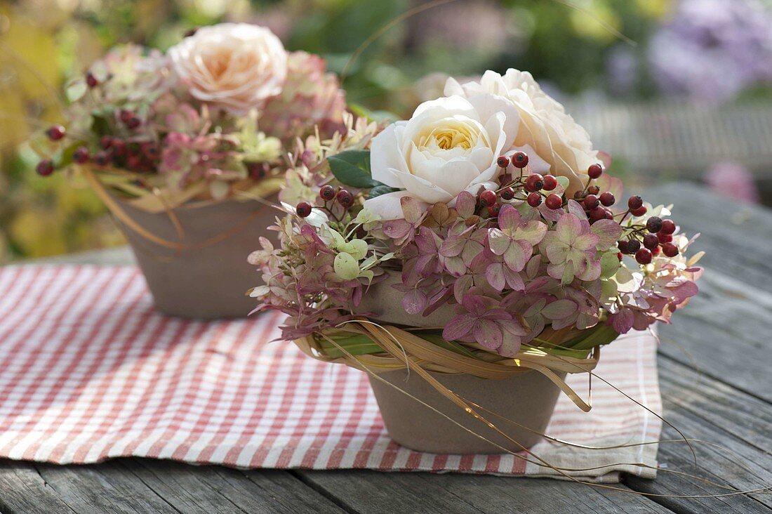 Small arrangements in clay pots, pink, hydrangea