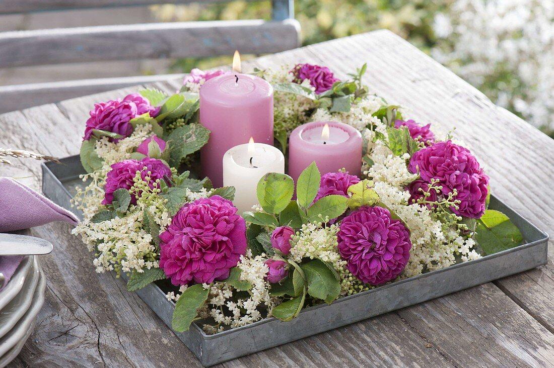 Scented wreath on zinc bowl, rose 'Rose De Resht'