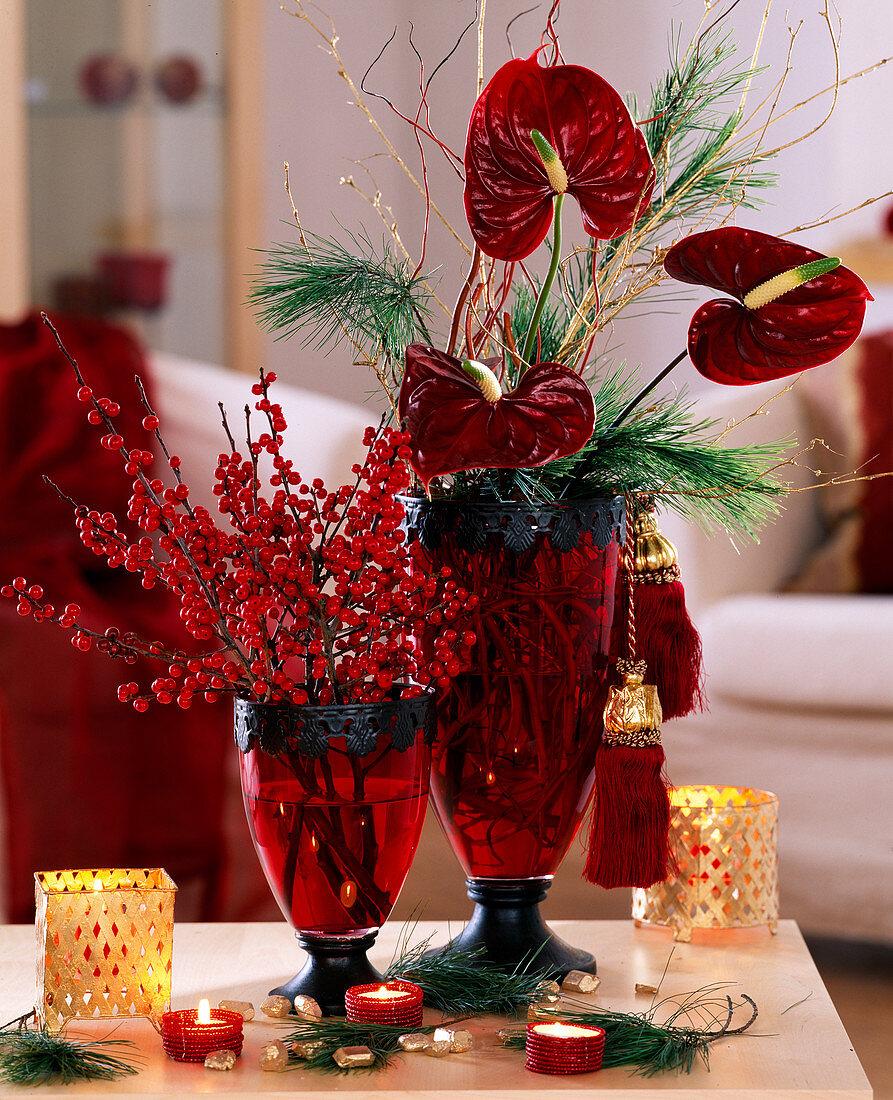 Bouquet of Anthurium flamingo flower, silk pine and hollyh twigs