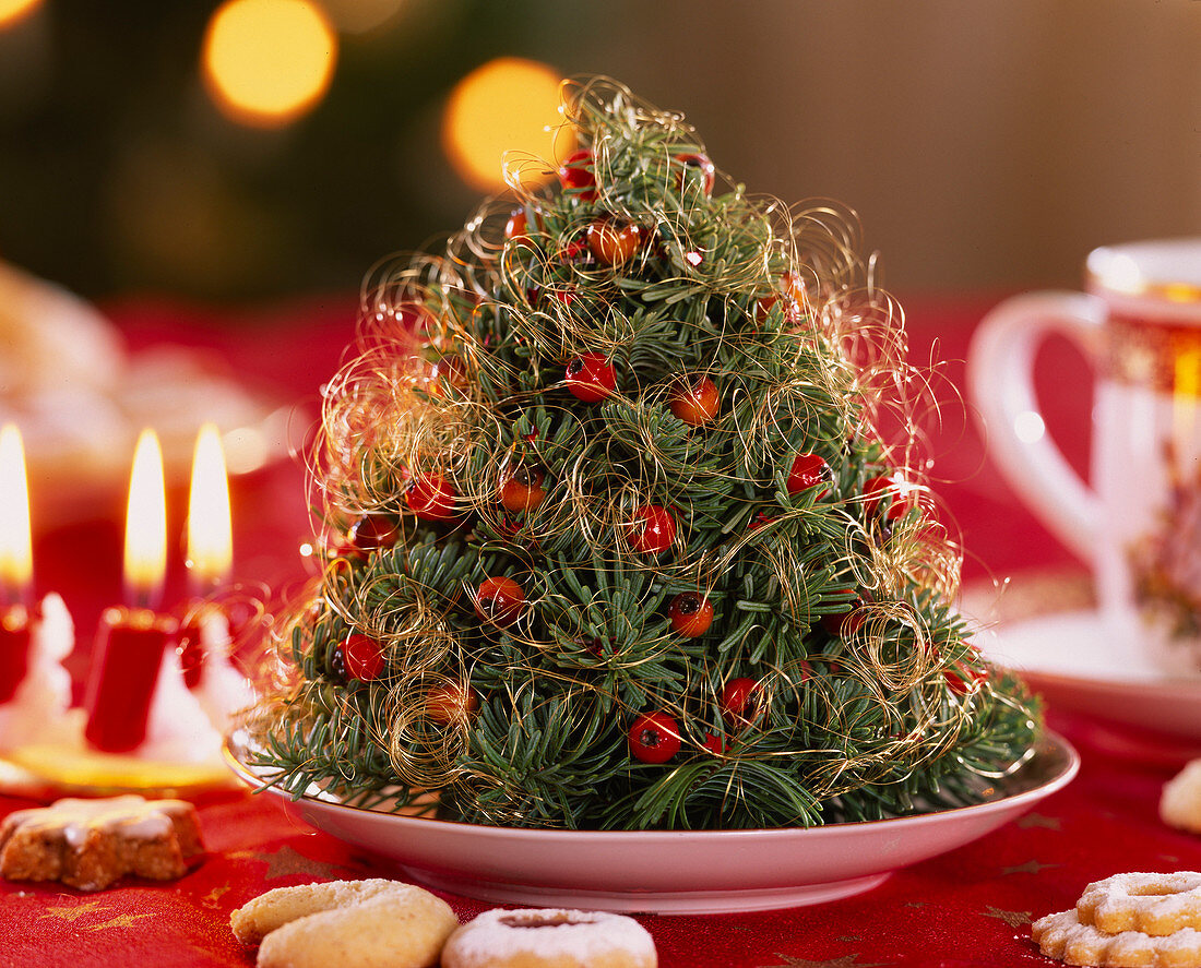 Self made mini fir-tree, with Abies procera and Nobilistanne, decorated with angel hair