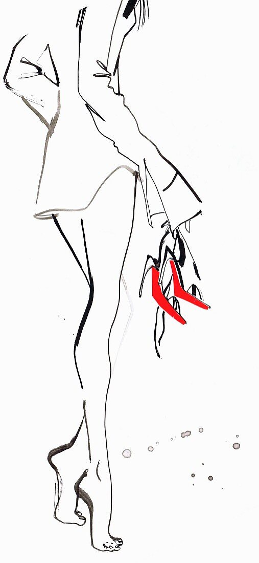 Beautiful woman tiptoeing and carrying shoes