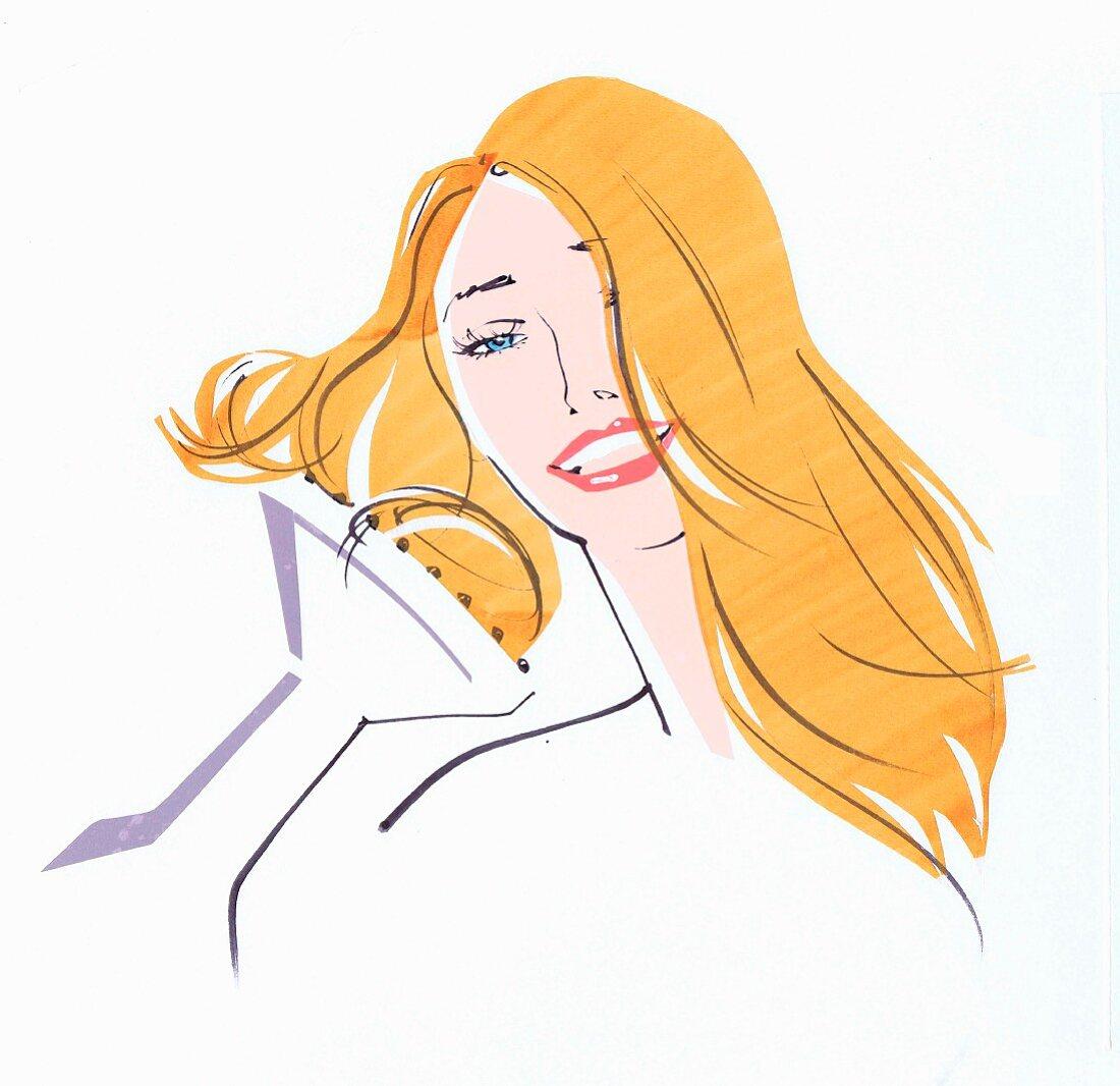 Close up beautiful woman drying hair using diffuser
