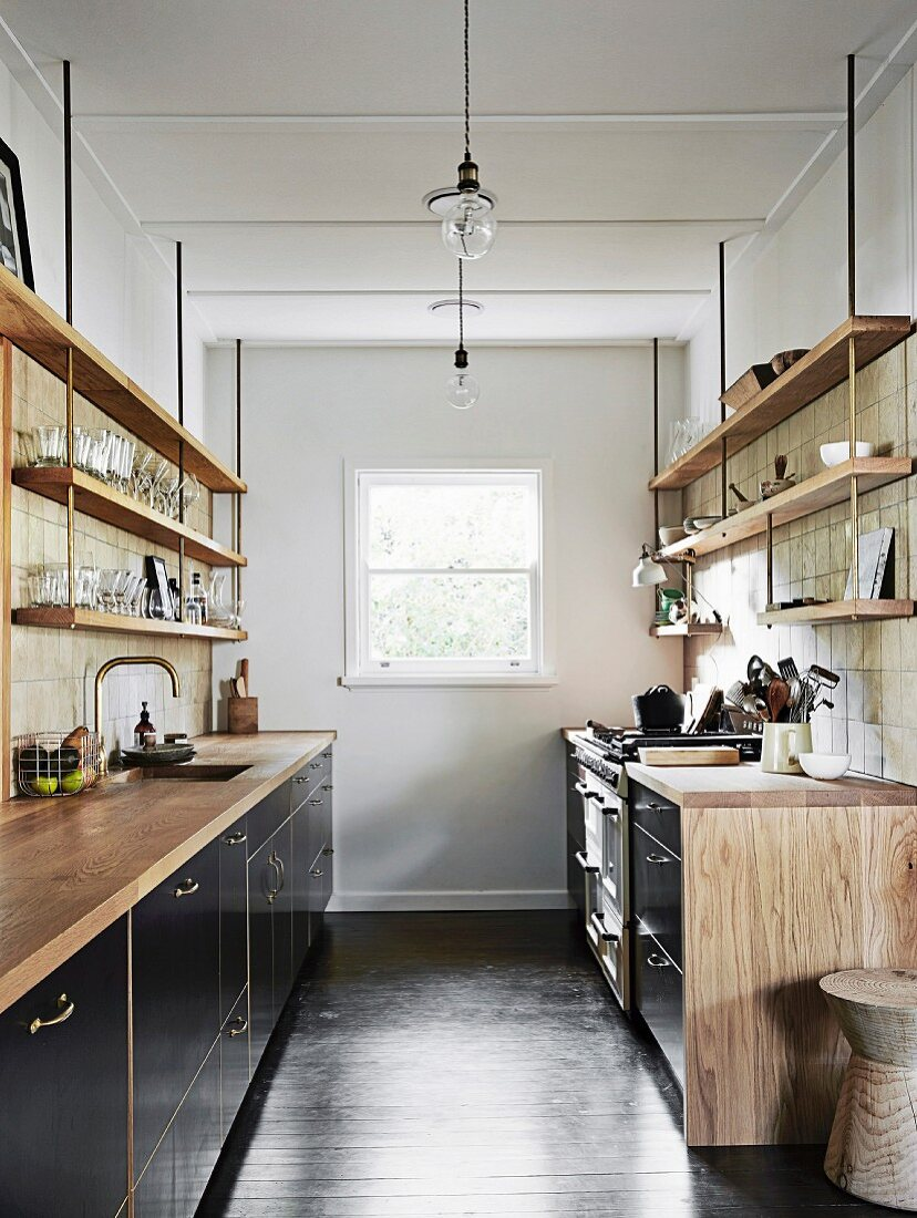 Black Kitchen Units With Wooden Worktops Buy Image 11955298 Living4media