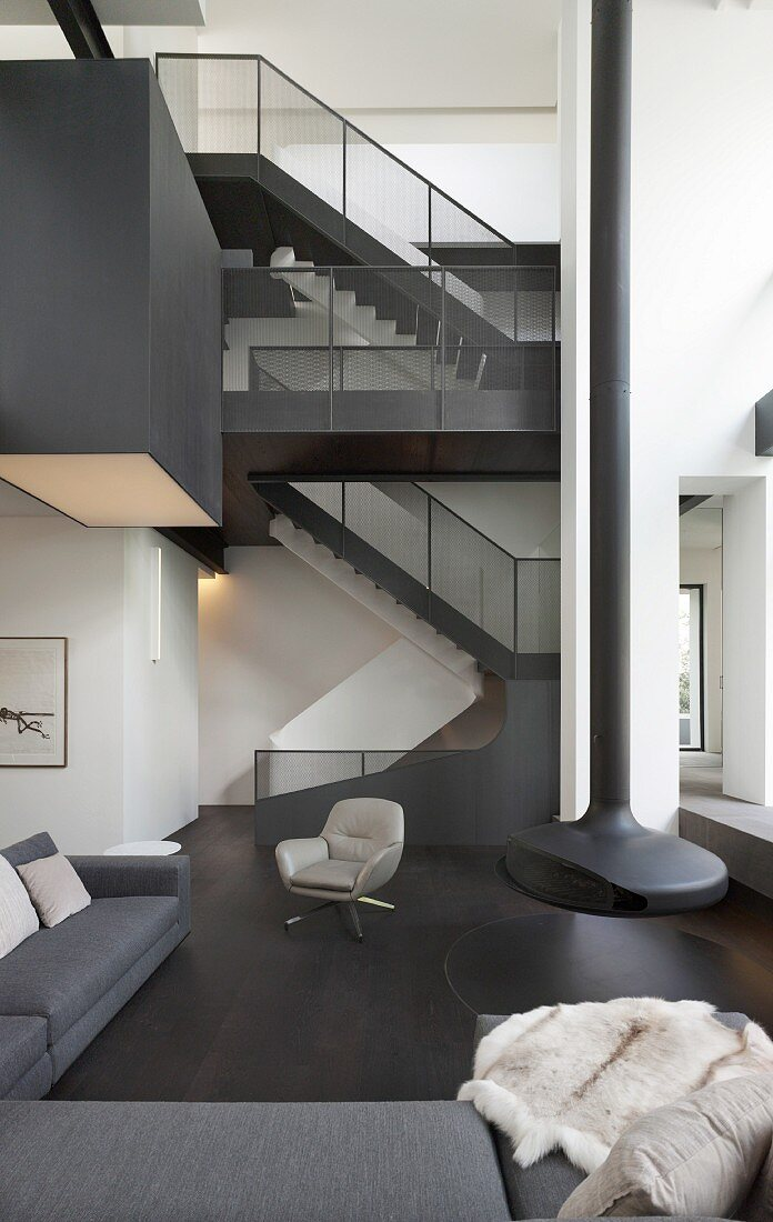 Staircase And Suspended Fireplace In Buy Image 11970730 Living4media
