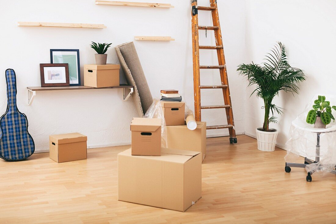 Moving boxes in almost-empty room