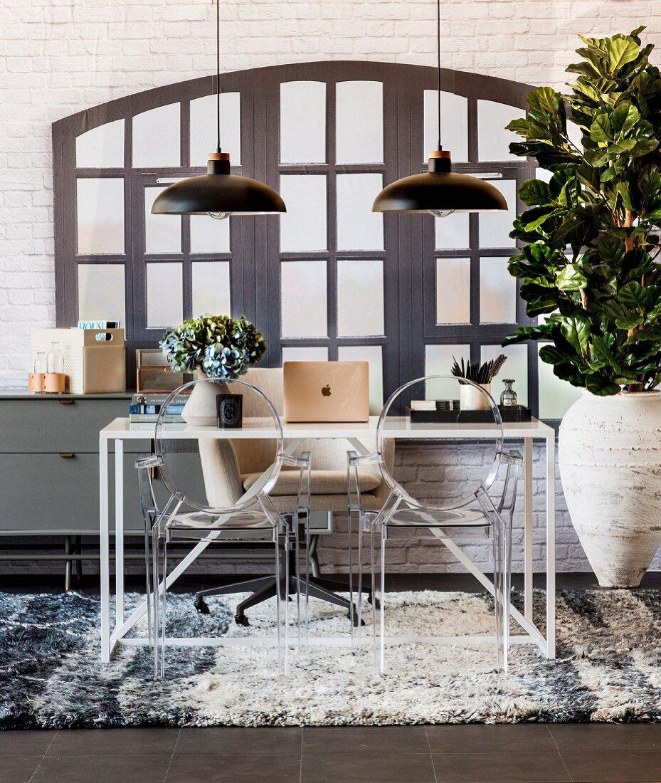 Modern work area in front of faux window