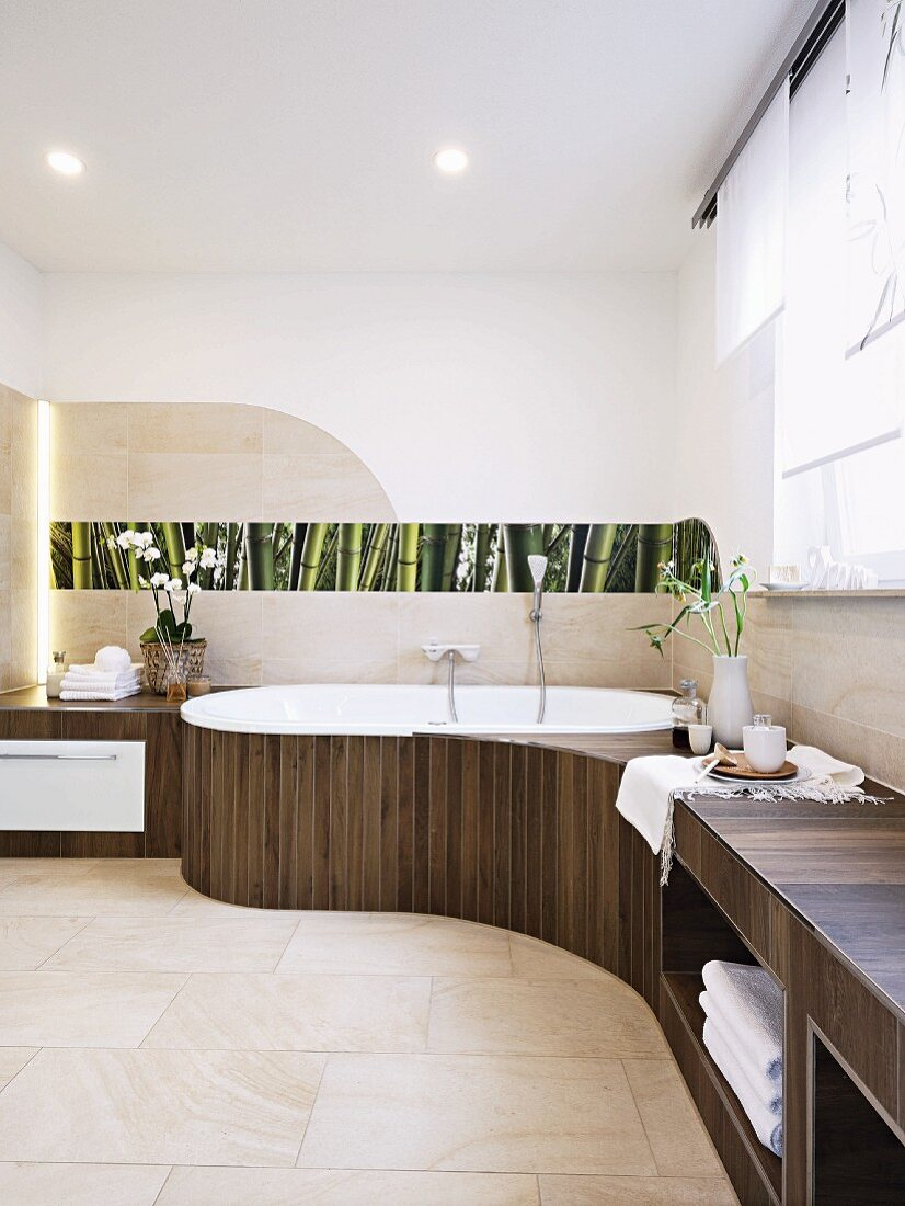 An organically designed bathroom with shelves and a floral photo panel