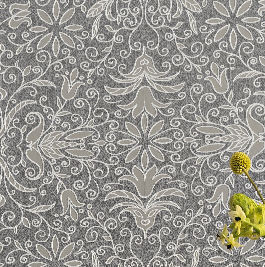 Non-woven wallpaper with a floral pattern with a relief effect in shades of grey and nostalgic Scandinavian flair