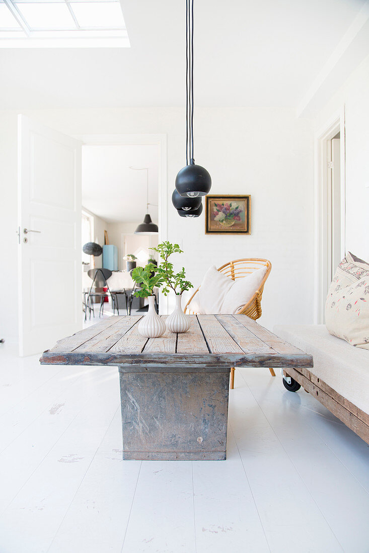 Rustic coffee table and pallet couch on castors