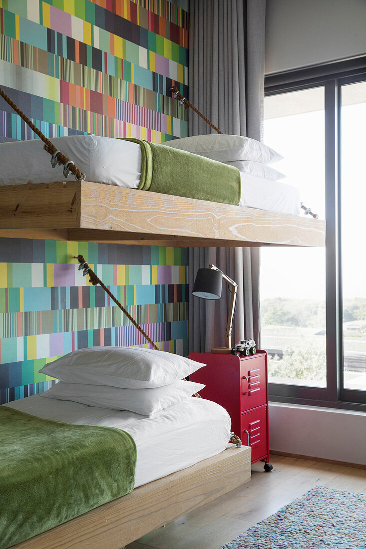 Picture of: Bunk Beds Suspended From Wall Decorated Buy Image 12416064 Living4media
