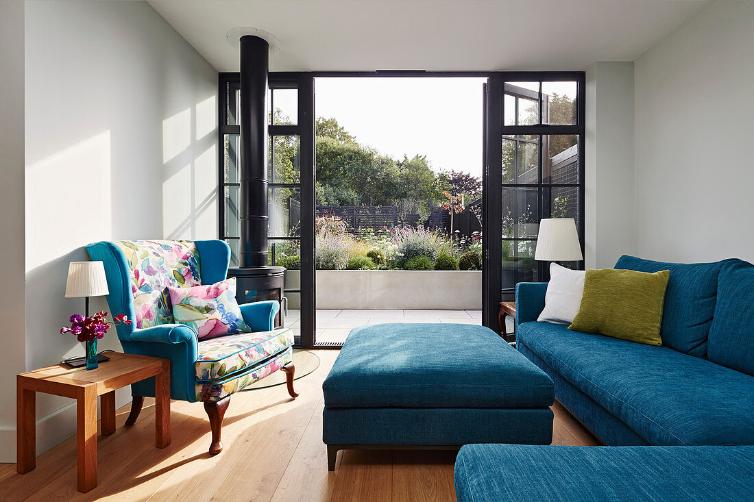Picture of: Blue Sofa Set In Living Room With Open Buy Image 12417924 Living4media