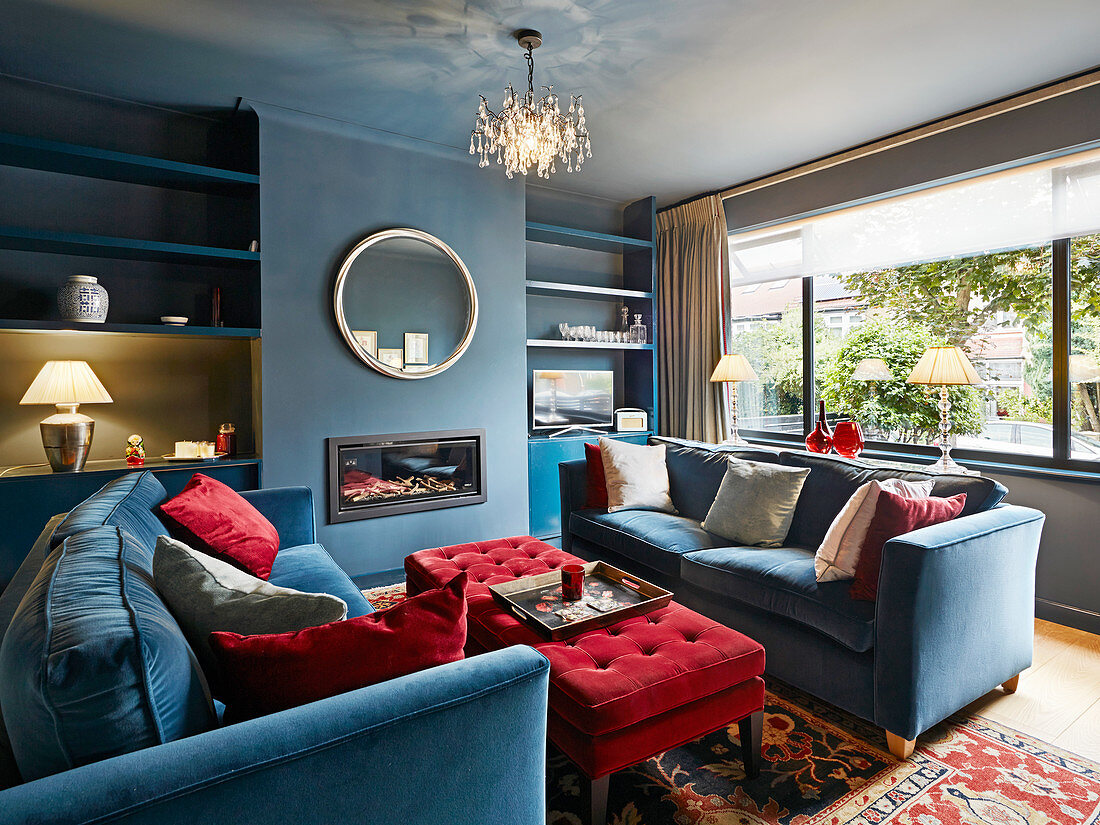 British Style Living Room In Blue And Buy Image 12417926 Living4media
