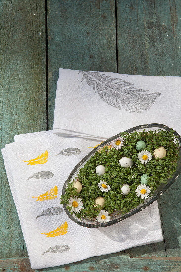 Dish of cress on napkins printed with feather pattern