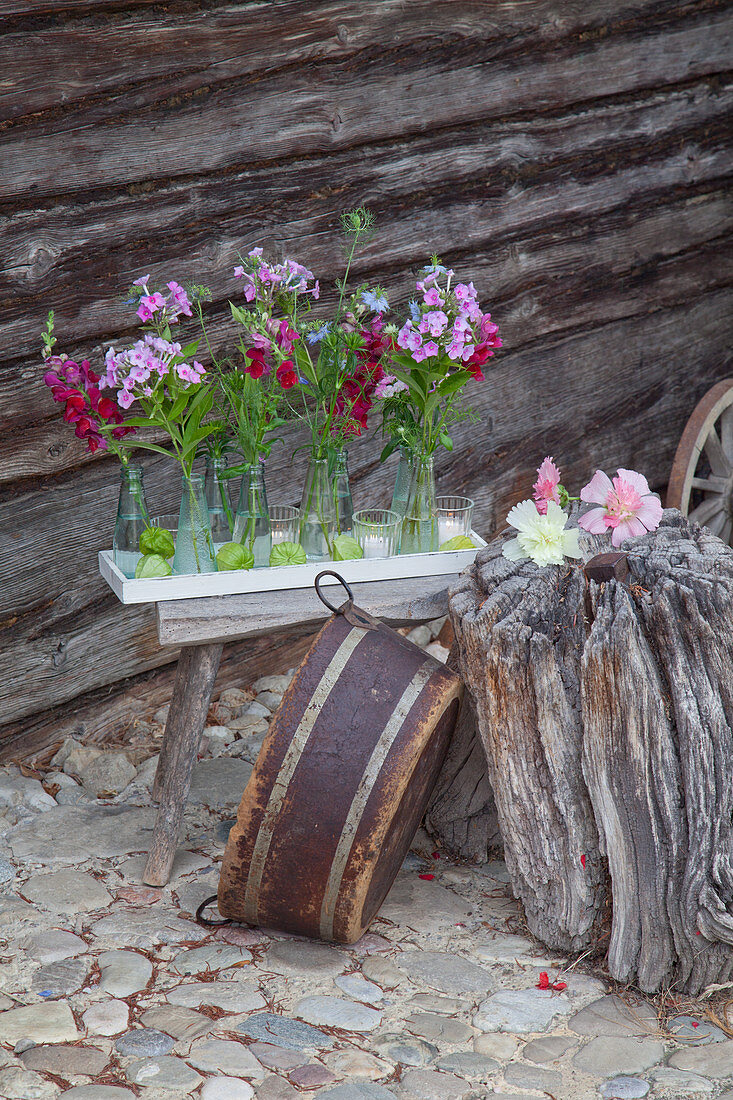 Phlox, love-in-a-mist and snapdragons in small bottles