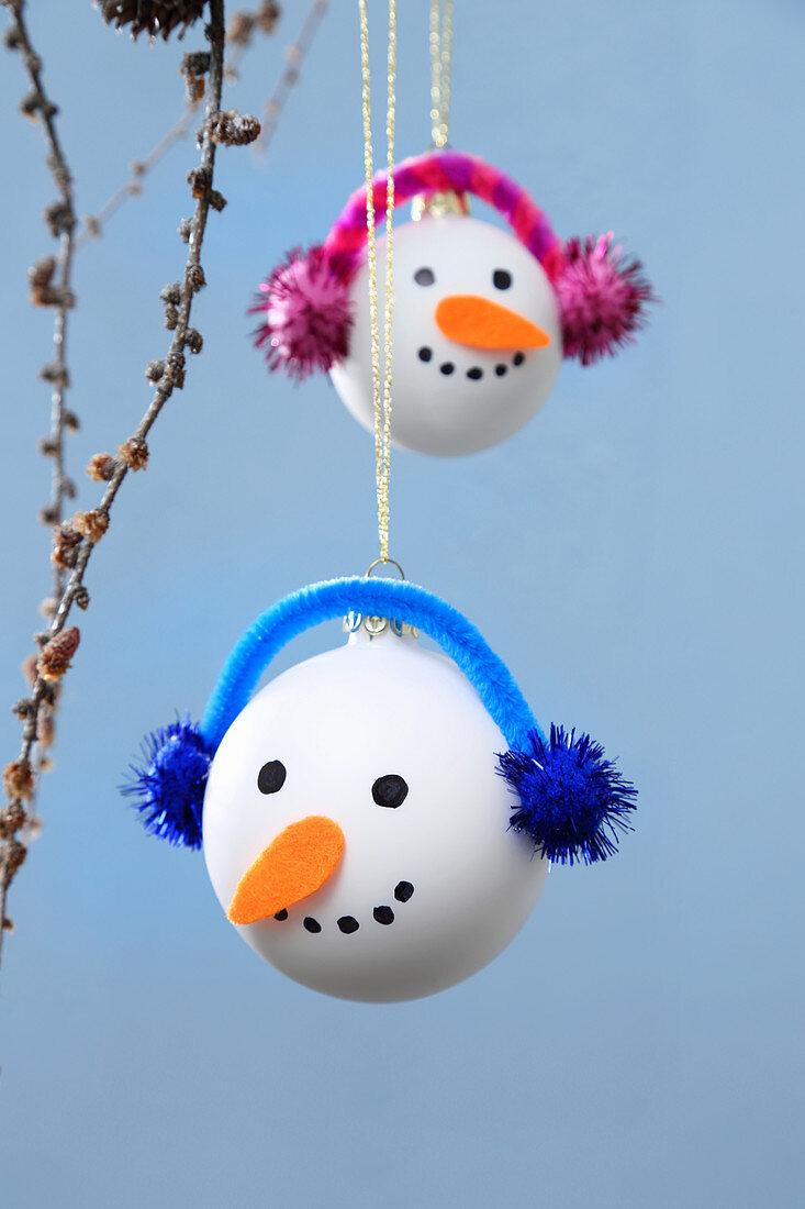 Hand-made snowman baubles