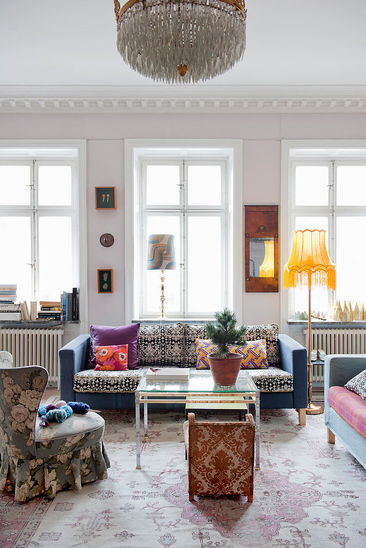 Colourful furniture with various patterns in living room