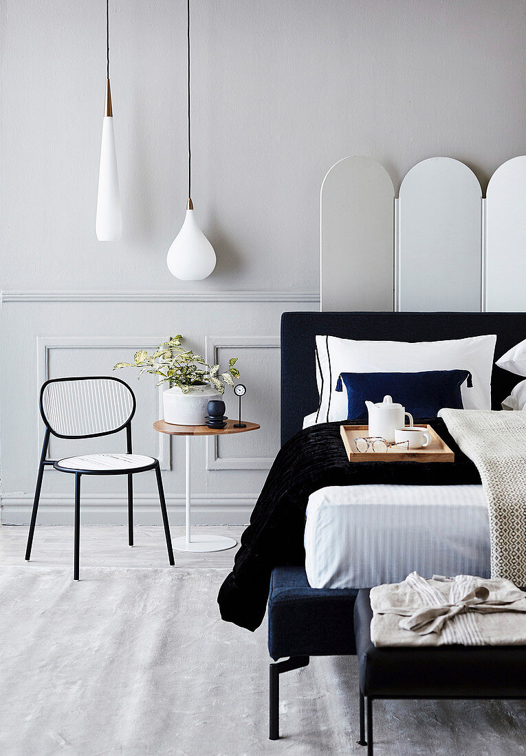 Double Bed And Headboard With Dark Blue Buy Image 12440950 Living4media