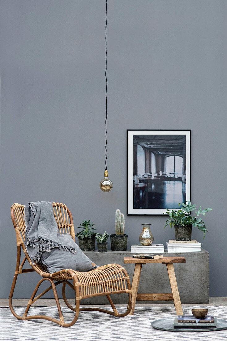 Korbstuhl und Steinbank mit Pflanzen vor grauer Wand