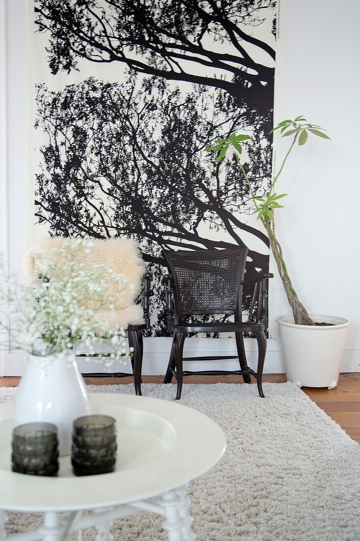 Image of: Round White Side Table In Front Of Two Buy Image 12443470 Living4media