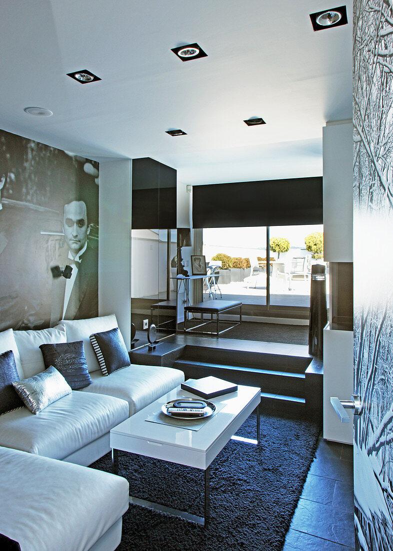 Compact, modern, split-level living room