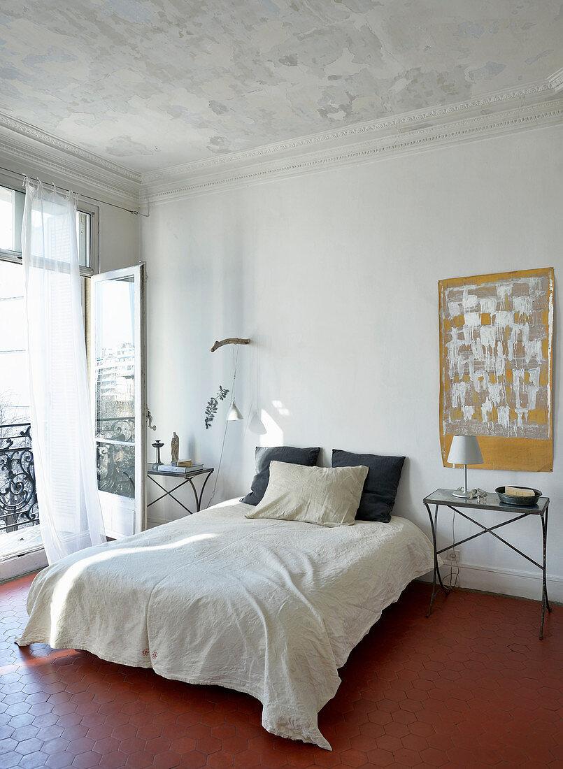 Simple bedroom in Mediterranean period building