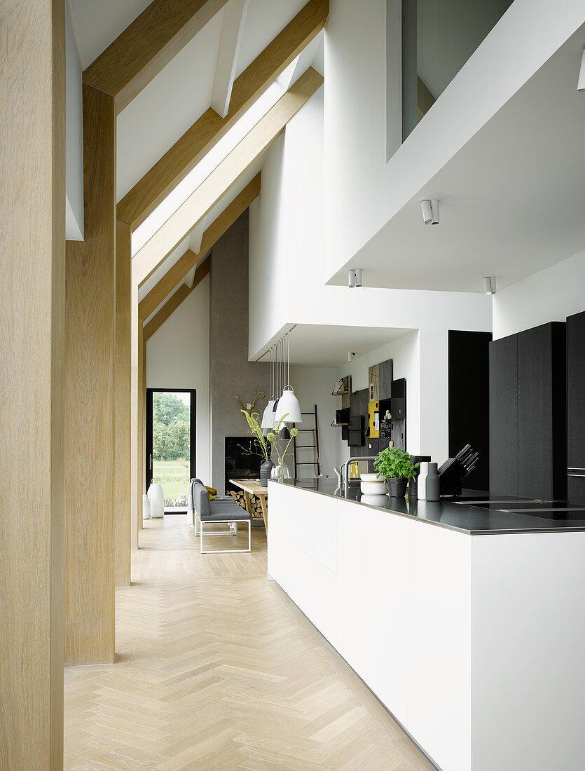 Open-plan kitchen in modern architect-designed house