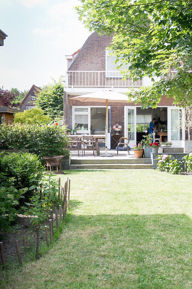 Brick house with garden