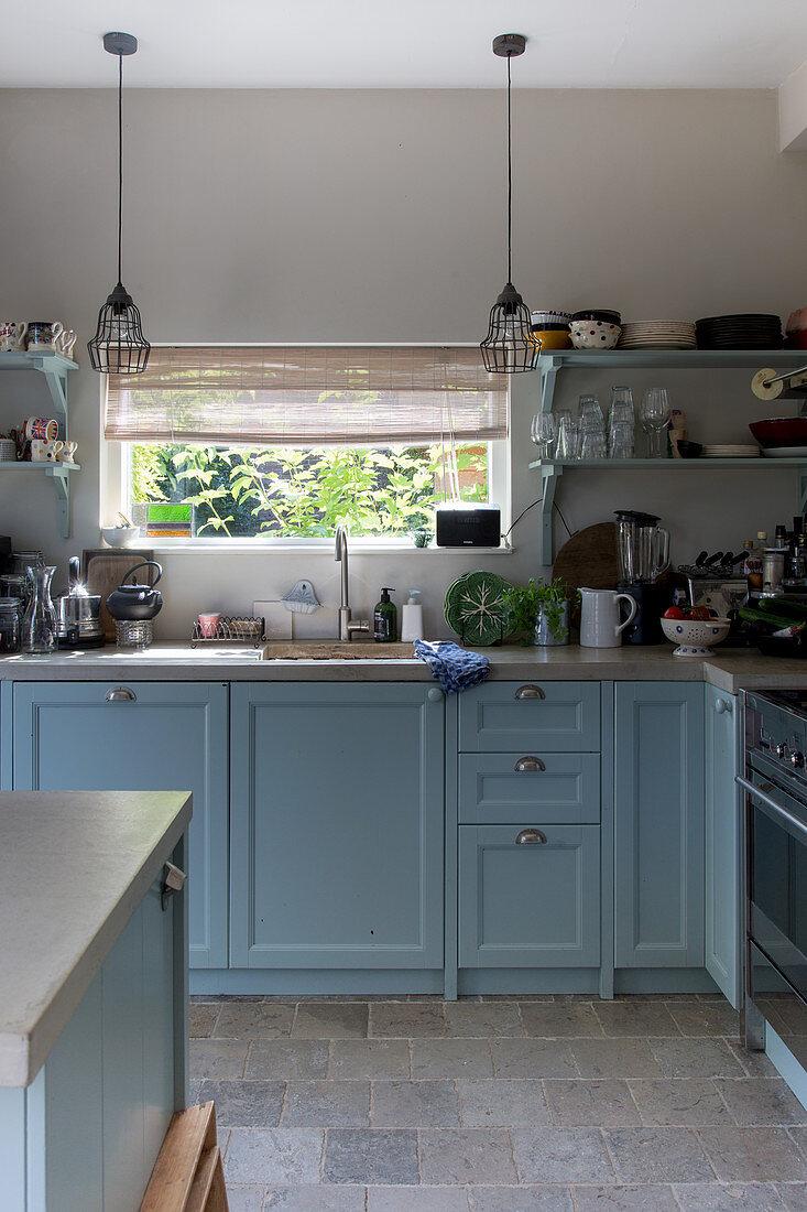 Blue Base Cabinets And Vintage Pendant Buy Image 12501096 Living4media