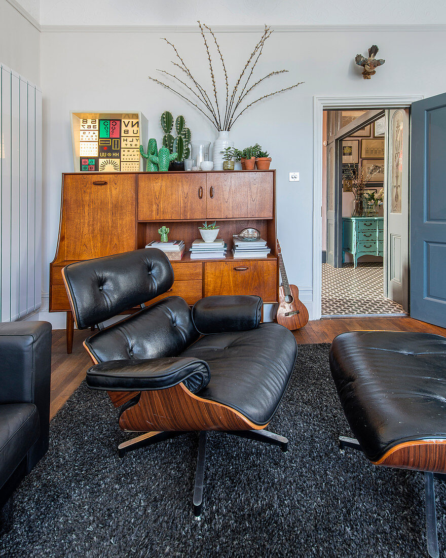 Outdoor Tabletop Fire Bowl, Eames Lounge Chair In Living Room In Buy Image 12502822 Living4media